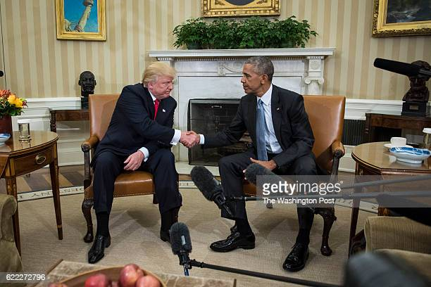 President Barack Obama shakes hands with Presidentelect Donald Trump in the Oval Office of the White House in Washington Thursday Nov 10 2016