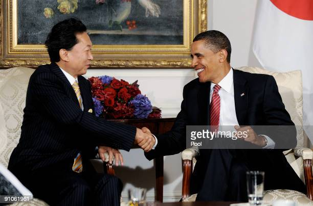 S President Barack Obama shakes hands with Prime Minister Yukio Hatoyama of Japan during a bilateral meeting at the Waldorf Astoria September 23 2009...