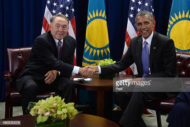 S President Barack Obama shakes hands with with President Nursultan Nazarbayev of Kazakhstan during a a bilateral meeting at the United Nations...