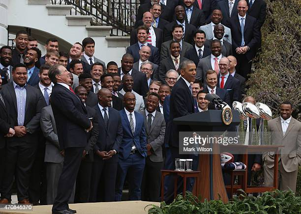 S President Barack Obama shares a laugh with head coach Bill Belichick during an event to honor the National Football League Super Bowl champion New...