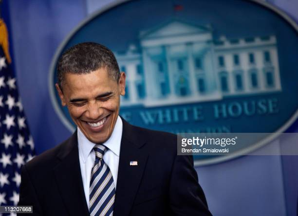 President Barack Obama smiles before speking to the press in the Briefing Room of the White House April 27 2011 in Washington DC US President Barack...