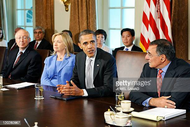US President Barack Obama smiles during a cabinet meeting in the Cabinet Room at the White House in in Washington DC on August 3 2011 Obama called on...