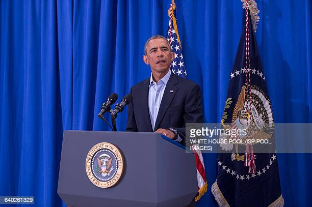 President Barack Obama speaking about the murder of journalist James Foley during a press briefing at the press filing center at the Edgartown School...