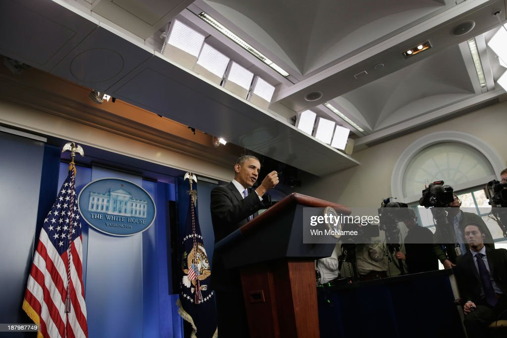 U.S. President Barack Obama speaks about an administrative fix for some of the problems with the HealthCare.gov. website in the Brady Press Briefing Room at the White House on November 14, 2013 in Washington, DC. The president announced that canceled insurance plans would be renewed for a year.