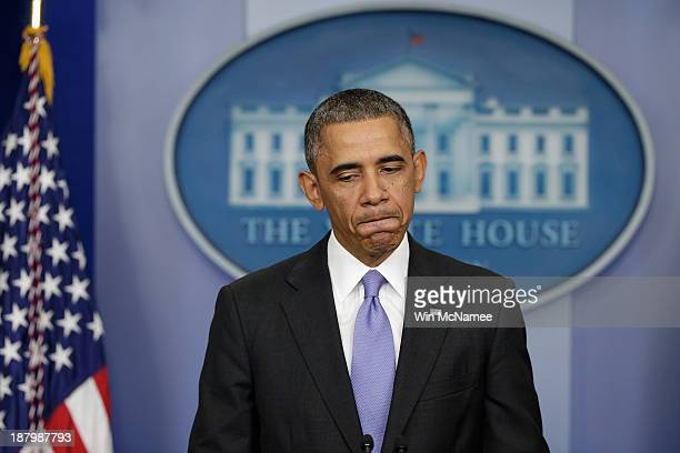 S President Barack Obama speaks about an administrative fix for some of the problems with the HealthCaregov website in the Brady Press Briefing Room...
