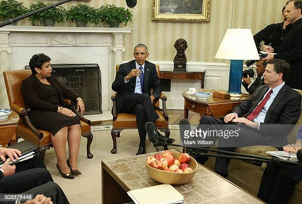S President Barack Obama speaks about gun control during a meeting with top law enforcement officials US Attorney General Loretta Lynch and FBI...