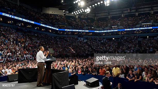 President Barack Obama speaks about healthcare reform during a rally at the Target Center in Minneapolis, Minnesota, September 12, 2009. AFP PHOTO /...