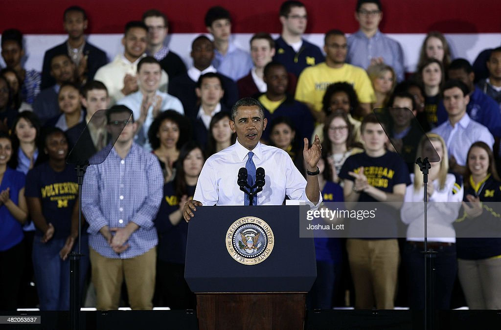 U.S. President Barack Obama speaks about his proposal to raise the federal minimum wage at the University of Michigan on April 2, 2014 in Ann Arbor, Michigan. Obama said every American deserves a fair working wage.