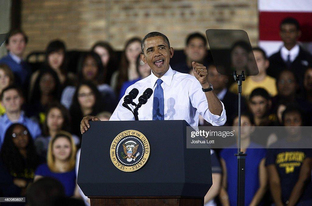 President Obama Speaks On Raising The Minimum Wage At The University Of Michigan : News Photo