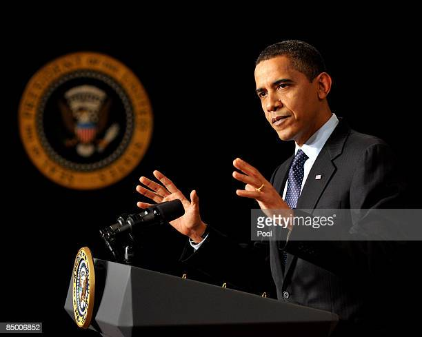 US President Barack Obama speaks about his upcoming budget during the close of the Fiscal Responsibility Summit in the East Room at the White House...