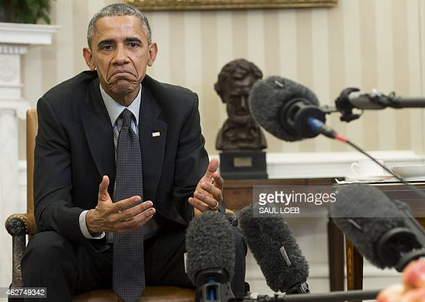 US President Barack Obama speaks about immigration reform during a meeting with young immigrants known as DREAMers in the Oval Office of the White...