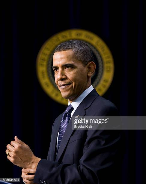 US President Barack Obama speaks about initiatives to promote science technology engineering and mathematics education while in the Eisenhower...