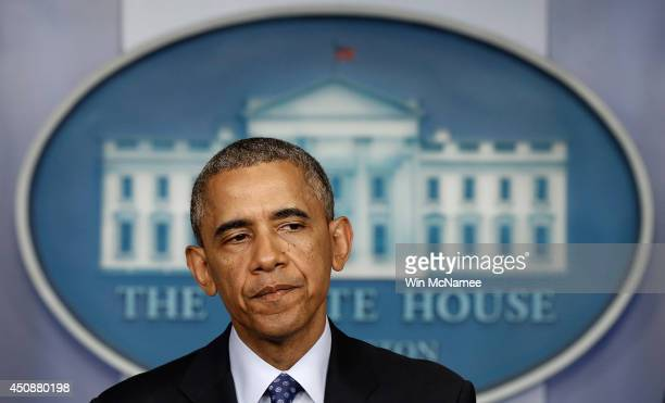 S President Barack Obama speaks about Iraq in the Brady Briefing room of the White House on June 19 2014 in Washington DC Obama spoke about the...