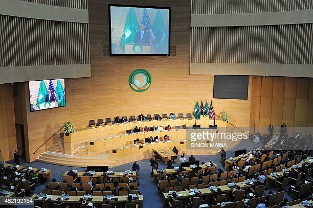 US President Barack Obama speaks about security and economic issues and USAfrica relations in Africa on July 28 2015 at the African Union...