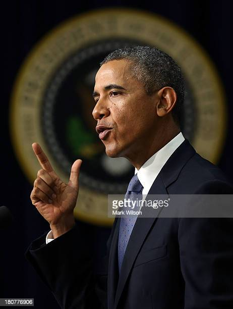 S President Barack Obama speaks about the about progress in the economy since the financial crises that happened five years ago in the Rose Garden at...