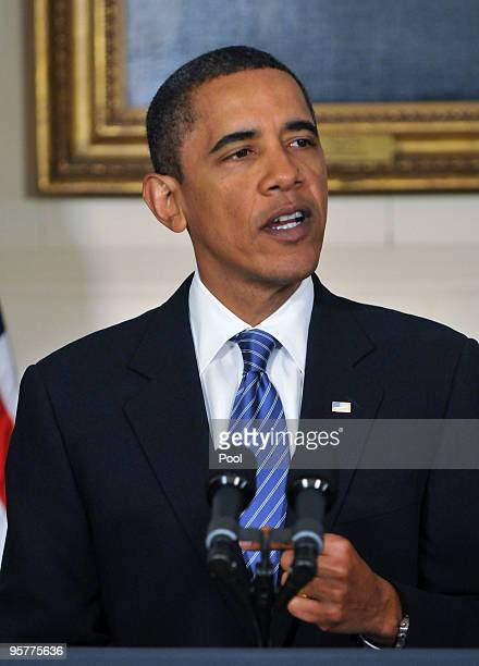 S President Barack Obama speaks about the financial crisis responsibility fee in the Diplomatic Reception Room at the White House January 14 2010 in...