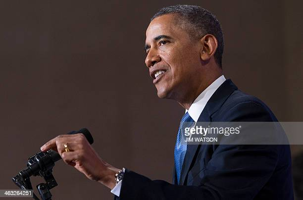 US President Barack Obama speaks about the National Security Agency and intelligence agencies surveillance techniques at the US Department of Justice...