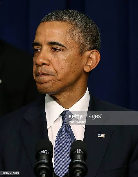 S President Barack Obama speaks about the shooting at the Navy Yard this morning before talking about progress in the economy since the financial...