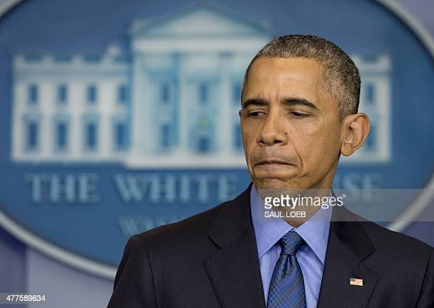 US President Barack Obama speaks about the shooting deaths of nine people at a historic black church in Charleston South Carolina from the Brady...