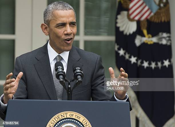 US President Barack Obama speaks about the Supreme Court's ruling to uphold the subsidies that comprise the Affordable Care Act known as Obamacare in...