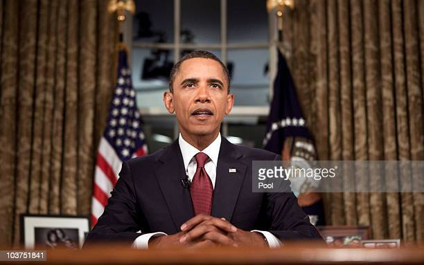 US President Barack Obama speaks after a televised national address from the Oval Office of the White House August 31 2010 in Washington DC In his...
