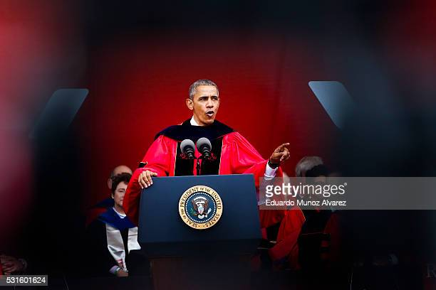 President Barack Obama speaks after receiving an honorary doctorate of laws during the 250th anniversary commencement ceremony at Rutgers University...