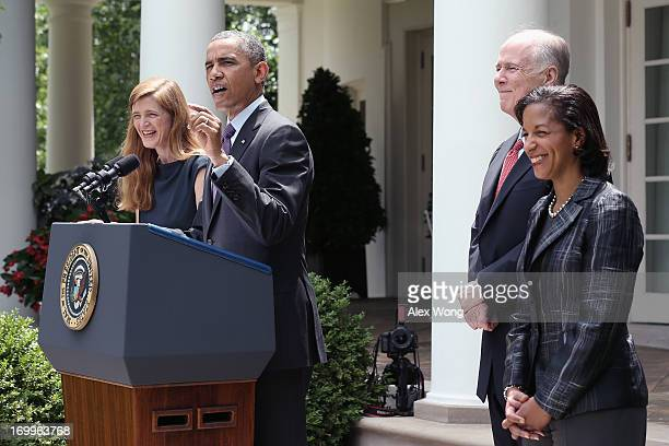 President Barack Obama speaks as former aide Samantha Power , U.S. Ambassador to the United Nations Susan Rice and incumbent National Security...