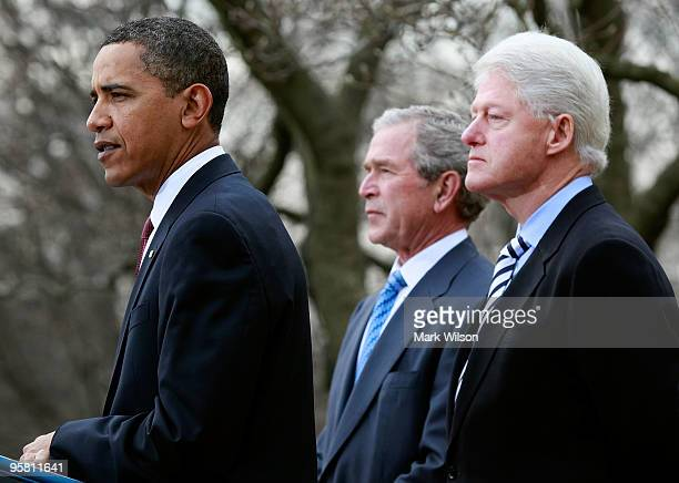 President Barack Obama speaks as former President Bill Clinton and former President George W. Bush listen in the Rose Garden of the White House...