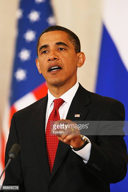S President Barack Obama speaks as he holds a press conference with Russian President Dmitry Medvedev after the signing ceremony of the Joint...