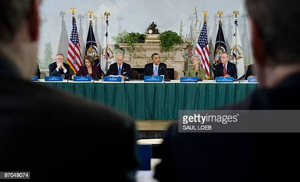 US President Barack Obama speaks as he hosts a bipartisan meeting to discuss health reform legislation at Blair House in Washington DC February 25...