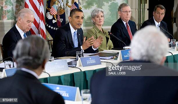 US President Barack Obama speaks as he hosts a bipartisan meeting to discuss health reform legislation at Blair House across the street from the...