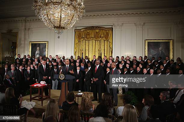 S President Barack Obama speaks as he hosts the Ohio State University Buckyes football team during an East Room event at the White House April 20...