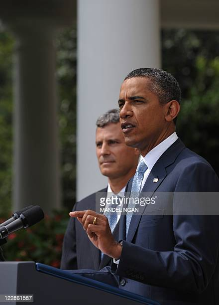 US President Barack Obama speaks as he nominates Alan Krueger to be the next chairman of the White House Council of Economic Advisers August 29 2011...