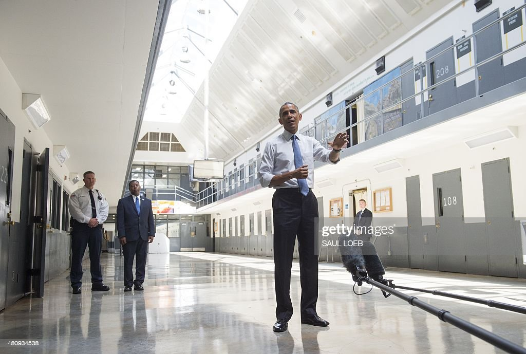 US President Barack Obama speaks as he tours the El Reno Federal Correctional Institution in El Reno, Oklahoma, July 16, 2015. Obama is the first sitting US President to visit a federal prison, in a push to reform one of the most expensive and crowded prison systems in the world.