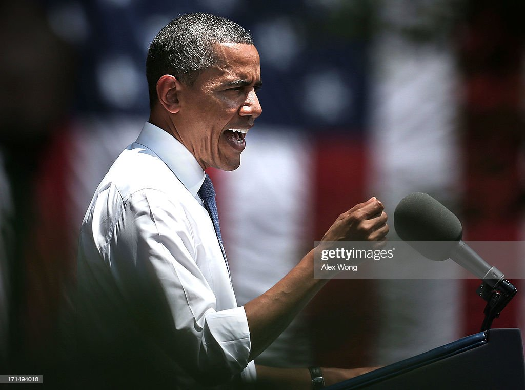 U.S. President Barack Obama speaks as he unveils his plan on climate change June 25, 2013 at Georgetown University in Washington, DC. President Obama laid out his plan to diminish carbon pollution and prepare the country for the impacts of climate change.