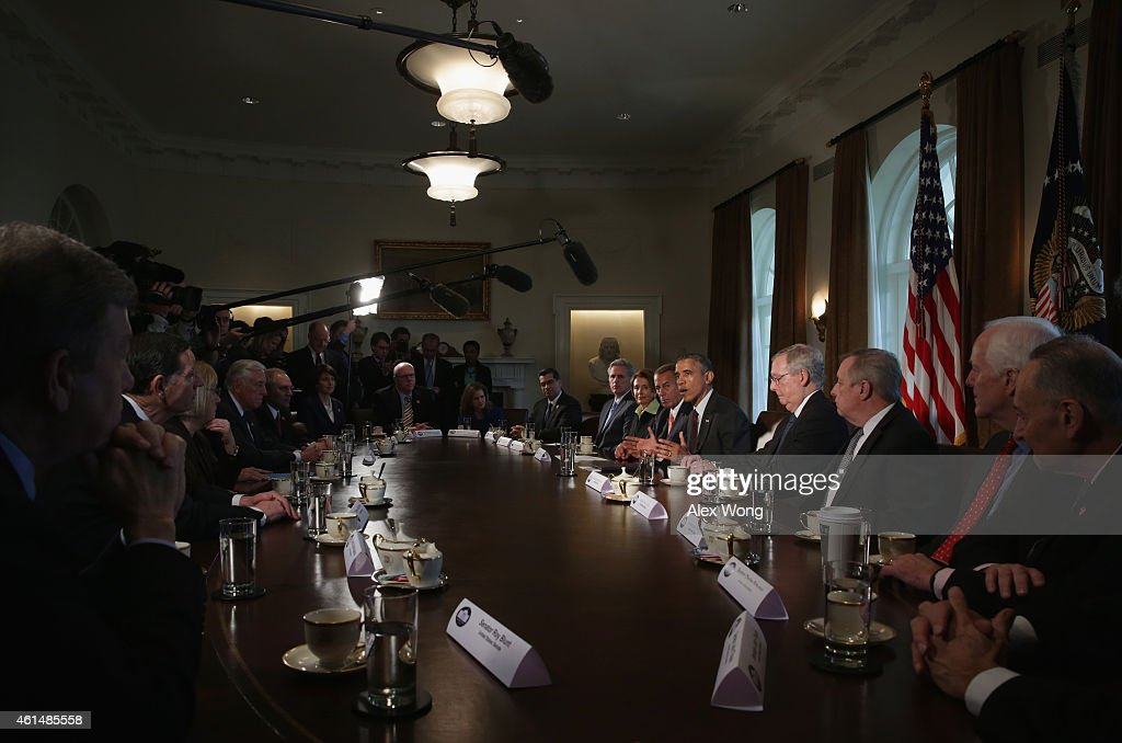 U.S. President Barack Obama speaks as meets with congressional leaders in the Cabinet Room of the White House January 13, 2015 in Washington, DC. President Obama met with congressional leaders to discuss issues including the economy and the nationals security.