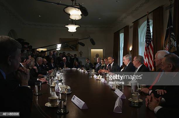 S President Barack Obama speaks as meets with congressional leaders in the Cabinet Room of the White House January 13 2015 in Washington DC President...