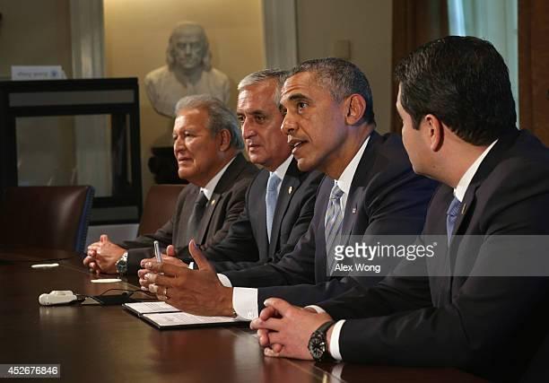 President Barack Obama speaks as President Otto Perez Molina of Guatemala, President Juan Orlando Hernandez of Honduras, and President Salvador...