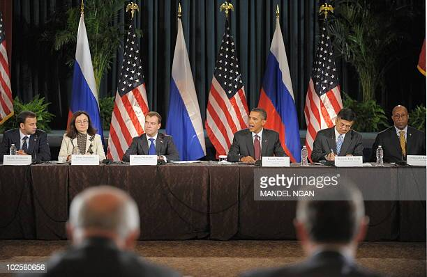 US President Barack Obama speaks as Russian President Dmitry Medvedev listens at the US�Russia Business Summit June 24 2010 at the US Chambers of...