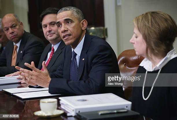 S President Barack Obama speaks as Secretary of Homeland Security Jeh Johnson White House Ebola Czar Ron Klain and White House Homeland Security...