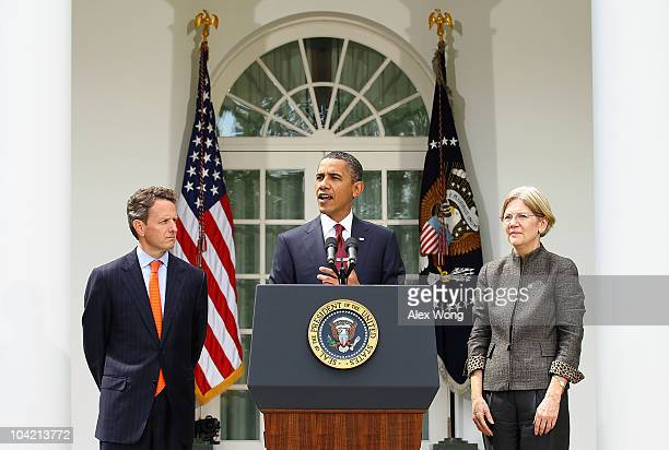 S President Barack Obama speaks as Secretary of the Treasury Timothy Geithner and Congressional Oversight Panel Chair Elizabeth Warren listen during...