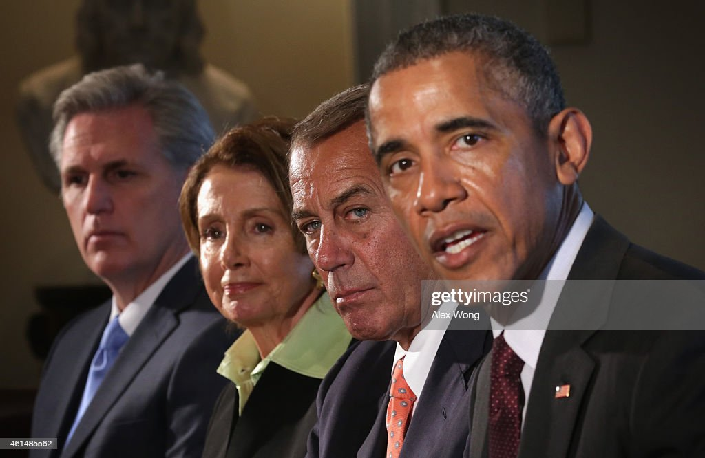 U.S. President Barack Obama (R) speaks as Speaker of the House Rep. John Boehner (R-OH) (3rd L), House Minority Leader Rep. Nancy Pelosi (D-CA) (2nd L), and House Majority Leader Rep. Kevin McCarthy (R-CA) (L) listen during a meeting in the Cabinet Room of the White House January 13, 2015 in Washington, DC. President Obama met with congressional leaders to discuss issues including the economy and the nationals security.
