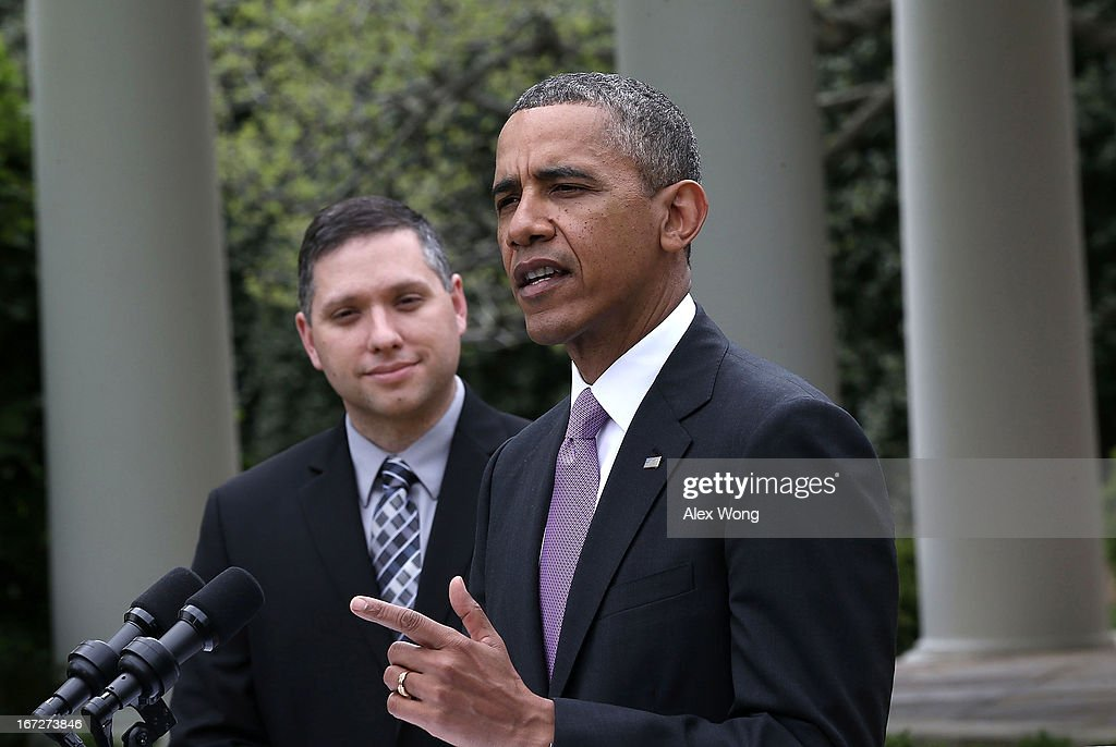 U.S. President Barack Obama (R) speaks as the 2013 National Teacher of the Year recipient Jeff Charbonneau, a high school science teacher from Zillah, Washington, listens during a Rose Garden event at the White House April 23, 2013 in Washington, DC. President Obama held the event to honor the 2013 National Teacher of the Year and finalists for their hard work and dedication in the classroom.