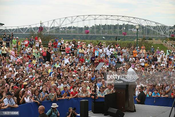 S President Barack Obama speaks at a campaign rally August 15 2012 in Dubuque Iowa The stop was one of two scheduled for today as the president wraps...