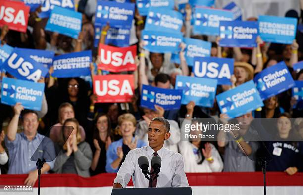 President Barack Obama speaks at a campaign rally in support of Democratic presidential candidate Hillary Clinton on November 4 2016 at the PNC Music...