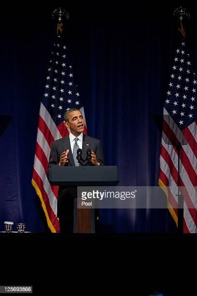 S President Barack Obama speaks at a Democratic National Committee fundraiser on September 20 2011 in New York City The DNC has promised $50 million...