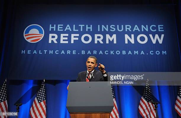 US President Barack Obama speaks at a fundraiser for the Democratic National Committee at the Hammerstein October 20 2009 in New York City AFP...