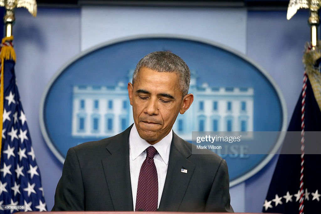President Barack Obama speaks at a press conference on October 1, 2015 in Washington, DC. According to reports, 10 were killed and 20 injured when a gunman opened fire at Umpqua Community College in Roseburg, Oregon.