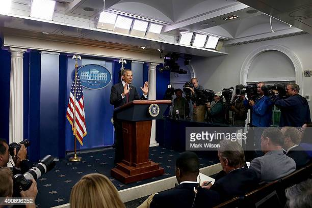 President Barack Obama speaks at a press conference on October 1 2015 in Washington DC According to reports 10 were killed and 20 injured when a...
