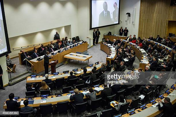 S President Barack Obama speaks at a special highlevel meeting regarding the Ebola virus outbreak in west Africa during the 69th United Nations...